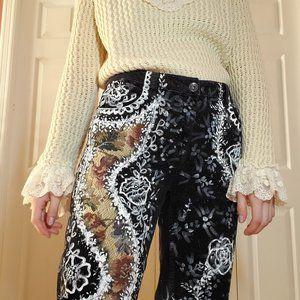 Black corduroy flower tapestry high rise mom jeans